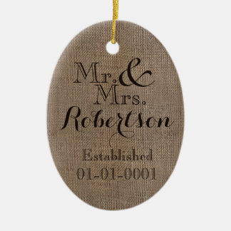 Personalized Burlap-Look Rustic Wedding Keepsake Christmas Ornament