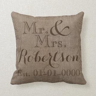 Personalized Burlap-Look Rustic Wedding Keepsake Cushion