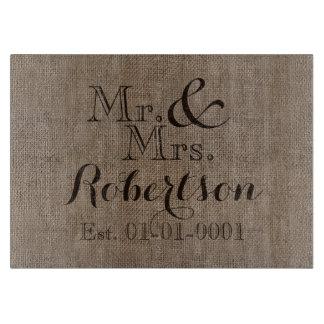Personalized Burlap-Look Rustic Wedding Keepsake Cutting Board