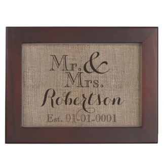Personalized Burlap-Look Rustic Wedding Keepsake Keepsake Boxes