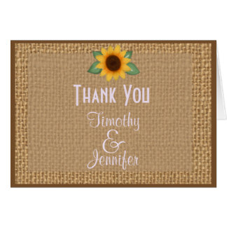 Personalized Burlap Sunflower Thank You Note Greeting Card