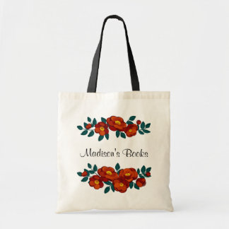 Personalized Burnt Orange Flowers Tote Bag