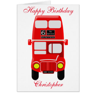 Personalized Bus Birthday Card