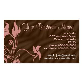 Personalized Business Cards, Feminine Pink / Brown