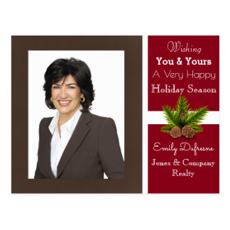 Personalized Business Holiday Greetings Modern Postcard
