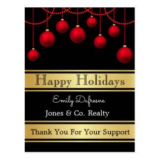 Personalized Business Holiday Greetings Ornaments Postcard