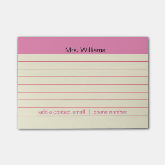 Personalized Business lines Pink Stripe Teacher Post-it® Notes