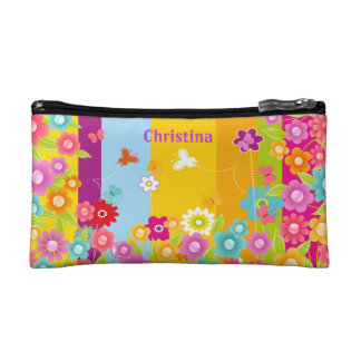 Personalized Butterflies and flowers cosmetics bag Makeup Bag