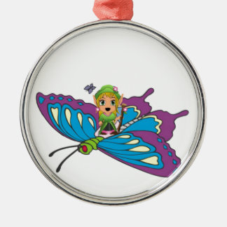 Personalized Butterfly Girl Silver-Colored Round Decoration