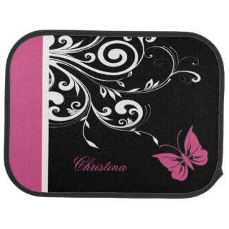 Personalized Butterfly Swirls Cranberry Pink Car Mat