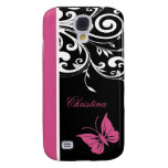 Personalized Butterfly Swirls Cranberry Pink Galaxy S4 Case