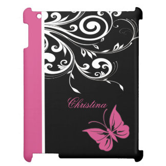 Personalized Butterfly Swirls Cranberry Pink iPad Case