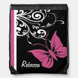 Personalized Butterfly Swirls Cranberry Pink Drawstring Bags