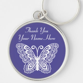 Personalized Butterfly Thank You Gifts for Her Silver-Colored Round Key Ring