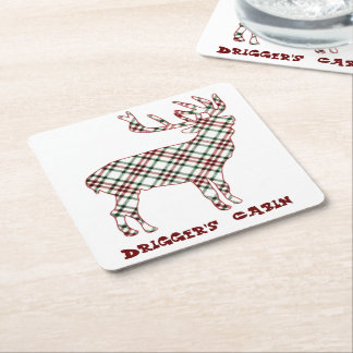 Personalized Cabin Rustic Woodland Plaid Reindeer Square Paper Coaster