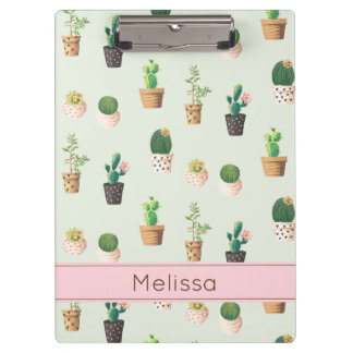 Personalized Cactus Print Clipboard