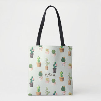 Personalized Cactus Print Tote