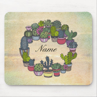 Personalized Cactus Wreath Mouse Pad