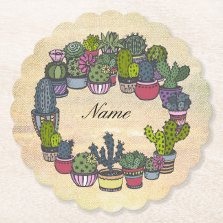 Personalized Cactus Wreath Paper Coaster