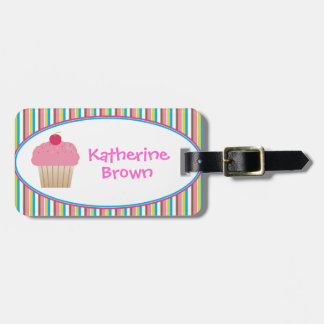 Personalized Candy Striped Cupcake Luggage Tag