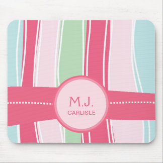 Personalized Candy Stripes Pattern for Girly Girls Mouse Pad