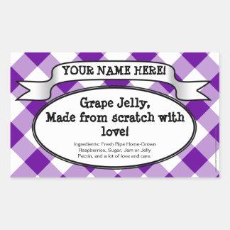 Personalized Canning Jar Label Purple Gingham Jam Rectangular Stickers