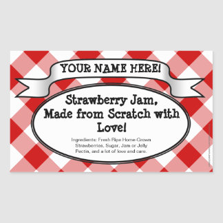 Personalized Canning Jar Label, Red Gingham Jelly Rectangular Sticker