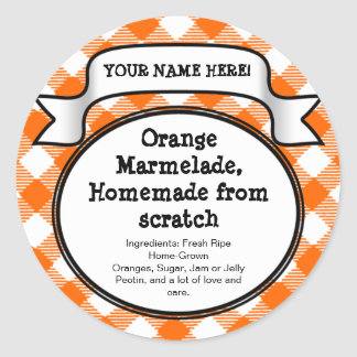 Personalized Canning Jar/Lid Label, Orange Gingham Round Stickers