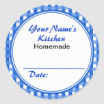 Personalized Canning Labels Round Sticker Blue