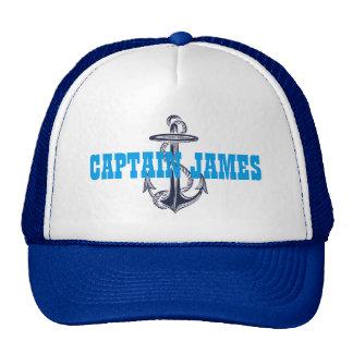 Personalized Captain Navy Blue Vintage Anchor Cap
