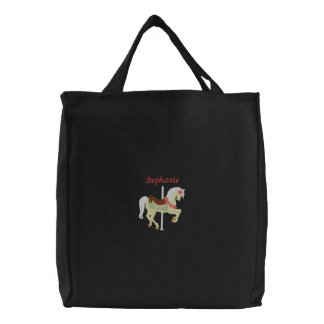 Personalized carousel horse embroidered tote bag