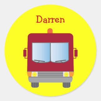 Personalized Cartoon Fire Truck Yellow Round Sticker