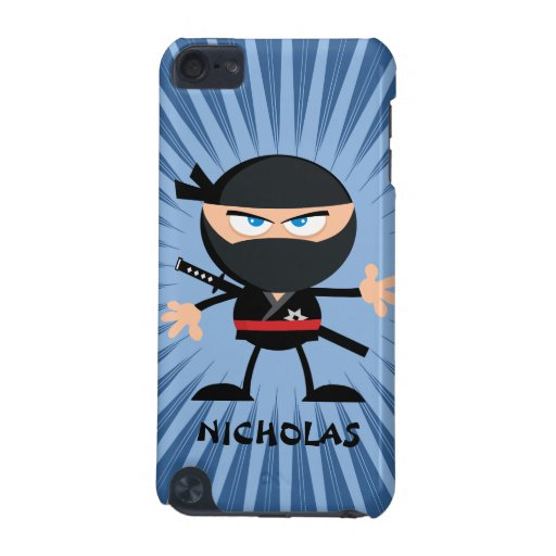Personalized Cartoon Ninja on Blue Starburst iPod Touch 5G Cover