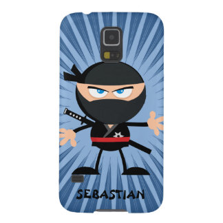 Personalized Cartoon Ninja on Blue Starburst Galaxy S5 Cases