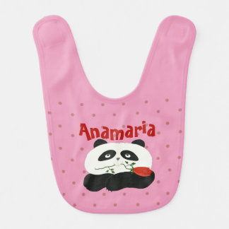 Personalized Cartoon Panda Flower Polka Dots Pink Baby Bib