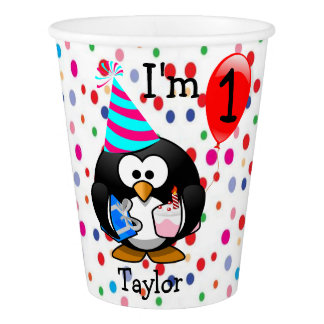 Personalized Cartoon Penguin 1st Birthday Party Paper Cup