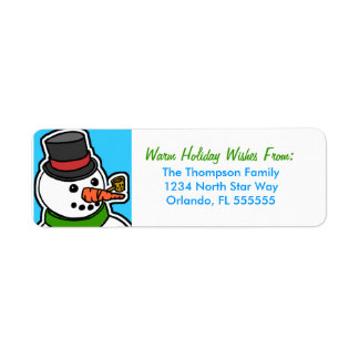 Personalized Cartoon Snowman Return Address Labels