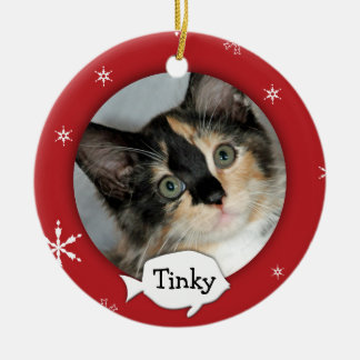 Personalized Cat/Pet Photo Holiday Christmas Ornament