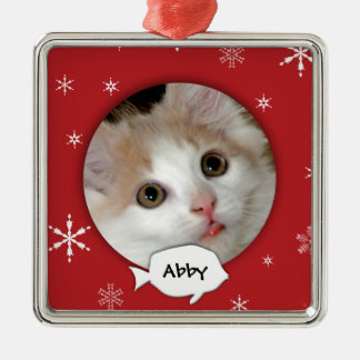 Personalized Cat Photo Holiday Christmas Ornament
