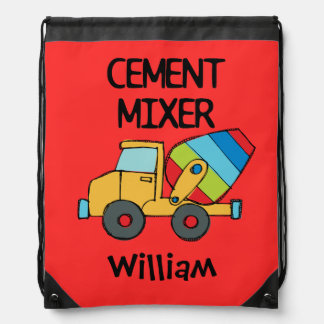 Personalized Cement Mixer Drawstring Bag