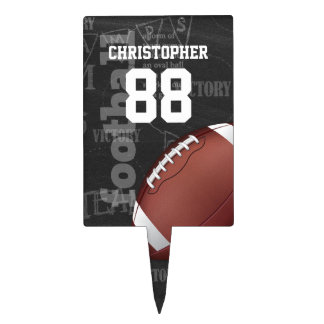 Personalized Chalkboard American Football Cake Toppers