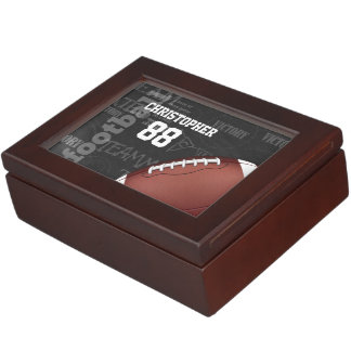 Personalized Chalkboard American Football Keepsake Box