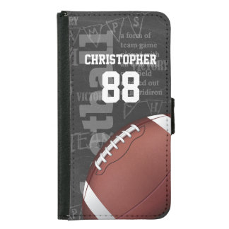 Personalized Chalkboard American Football Samsung Galaxy S5 Wallet Case