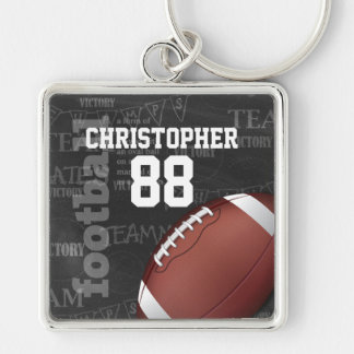 Personalized Chalkboard American Football Silver-Colored Square Key Ring