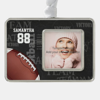 Personalized Chalkboard American Football Silver Plated Framed Ornament
