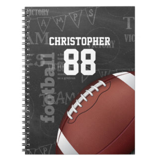 Personalized Chalkboard American Football Spiral Notebooks