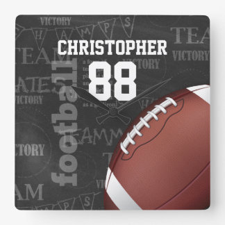 Personalized Chalkboard American Football Square Wall Clock