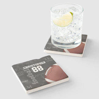 Personalized Chalkboard American Football Stone Beverage Coaster