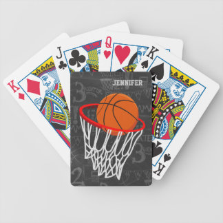 Personalized Chalkboard Basketball and Hoop Bicycle Poker Deck