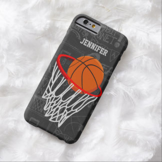 Personalized Chalkboard Basketball and Hoop Barely There iPhone 6 Case